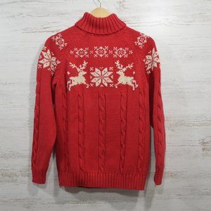 Land's End  Red White Reindeer Turtleneck Sweater
